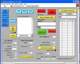 front panel of graphical control program